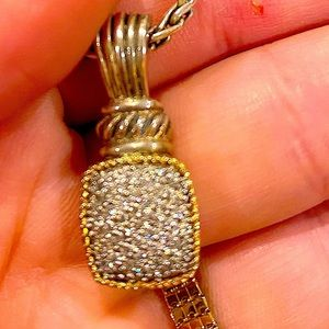 New EFFY LARGE Diamond 18K Gold & 925 Thick Necklace Super Sparkly & Large!